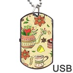 Colored Afternoon Tea Pattern Dog Tag USB Flash (One Side)