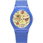 Colored Afternoon Tea Pattern Round Plastic Sport Watch (S)