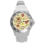 Colored Afternoon Tea Pattern Round Plastic Sport Watch (L)