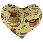 Colored Afternoon Tea Pattern Large 19  Premium Heart Shape Cushions