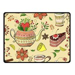 Colored Afternoon Tea Pattern Double Sided Fleece Blanket (Small)
