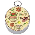 Colored Afternoon Tea Pattern Silver Compasses