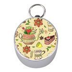 Colored Afternoon Tea Pattern Mini Silver Compasses
