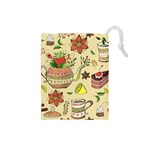 Colored Afternoon Tea Pattern Drawstring Pouches (Small)