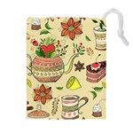 Colored Afternoon Tea Pattern Drawstring Pouches (Extra Large)