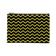 Yellow Chevron Cosmetic Bag (large)  by jumpercat