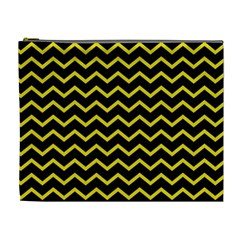 Yellow Chevron Cosmetic Bag (xl) by jumpercat