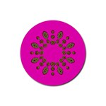 Sweet Hearts In  Decorative Metal Tinsel Rubber Coaster (Round)