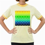 art deco rain bow Women s Fitted Ringer T-Shirts