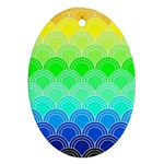 art deco rain bow Oval Ornament (Two Sides)