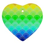 art deco rain bow Heart Ornament (Two Sides)
