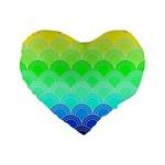 art deco rain bow Standard 16  Premium Heart Shape Cushions