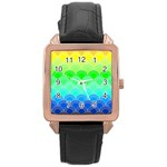 art deco rain bow Rose Gold Leather Watch