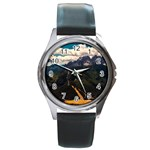 Italy Valley Canyon Mountains Sky Round Metal Watch