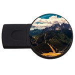 Italy Valley Canyon Mountains Sky USB Flash Drive Round (4 GB)