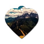 Italy Valley Canyon Mountains Sky Dog Tag Heart (One Side)