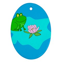 Frog Flower Lilypad Lily Pad Water Oval Ornament (two Sides) by BangZart