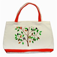 Tree Root Leaves Owls Green Brown Classic Tote Bag (red)