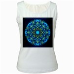 Mandala Blue Abstract Circle Women s White Tank Top