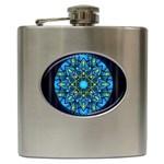 Mandala Blue Abstract Circle Hip Flask (6 oz)