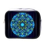 Mandala Blue Abstract Circle Mini Toiletries Bags