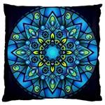 Mandala Blue Abstract Circle Large Cushion Case (Two Sides)