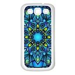 Mandala Blue Abstract Circle Samsung Galaxy S3 Back Case (White)