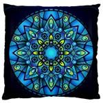 Mandala Blue Abstract Circle Large Flano Cushion Case (Two Sides)