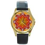 Mandala Zen Meditation Spiritual Round Gold Metal Watch