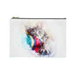 Cat Kitty Animal Art Abstract Cosmetic Bag (large)