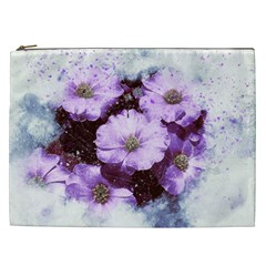 Flowers Purple Nature Art Abstract Cosmetic Bag (xxl)