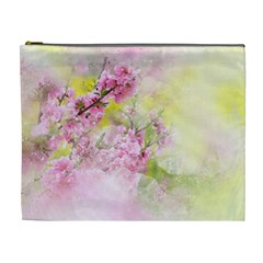 Flowers Pink Art Abstract Nature Cosmetic Bag (xl) by Celenk