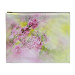 Flowers Pink Art Abstract Nature Cosmetic Bag (XL) Front