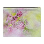 Flowers Pink Art Abstract Nature Cosmetic Bag (XL) Back