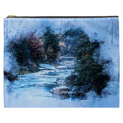 River Water Art Abstract Stones Cosmetic Bag (xxxl)