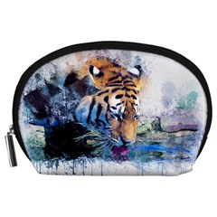 Tiger Drink Animal Art Abstract Accessory Pouches (large)
