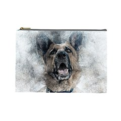 Dog Pet Art Abstract Vintage Cosmetic Bag (large)  by Celenk