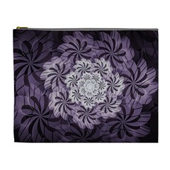 Fractal Floral Striped Lavender Cosmetic Bag (xl) by Celenk