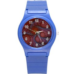 Fractal Red Fractal Art Digital Art Round Plastic Sport Watch (s) by Celenk
