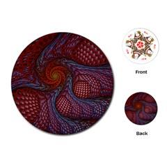 Fractal Red Fractal Art Digital Art Playing Cards (round)  by Celenk