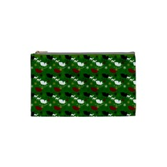 Snow Sleigh Deer Green Cosmetic Bag (small)  by snowwhitegirl