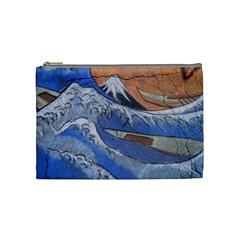 Harvard Mayfair Hokusai Chalk Wave Fuji Cosmetic Bag (medium)  by Celenk