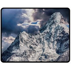 Mountain Snow Winter Landscape Double Sided Fleece Blanket (medium)  by Celenk