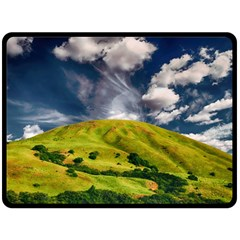 Hill Countryside Landscape Nature Double Sided Fleece Blanket (large)  by Celenk