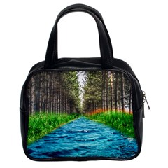 River Forest Landscape Nature Classic Handbags (2 Sides) by Celenk