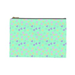 Minty Hearts Cosmetic Bag (large)  by snowwhitegirl