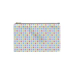 Blue Pink Yellow Eggs On White Cosmetic Bag (small)  by snowwhitegirl