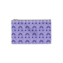 Winter Hat Snow Heart Lilac Blue Cosmetic Bag (small)  by snowwhitegirl