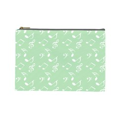 Mint Green White Music Cosmetic Bag (large)  by snowwhitegirl