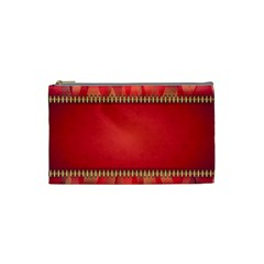 Background Red Abstract Cosmetic Bag (small)  by Nexatart
